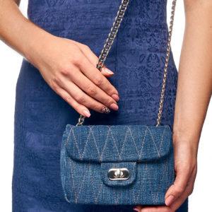 Сумка из натуральной замши и джинсовой ткани