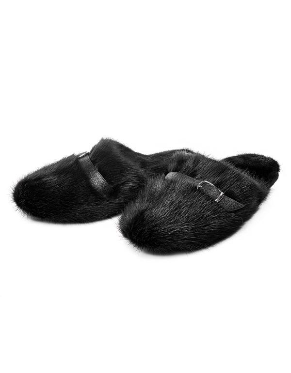 Мужские меховые тапочки из норки