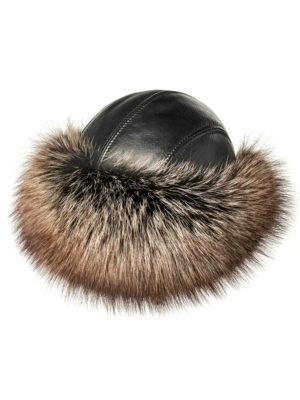 Шапка из меха лисы и натуральной кожи