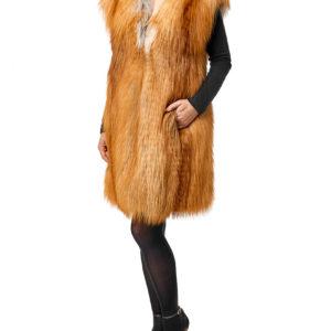 Удлиненный жилет из меха лисы