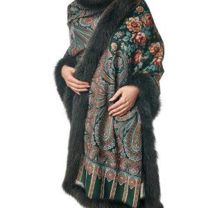 Палантин с мехом песца из павловопосадской шали