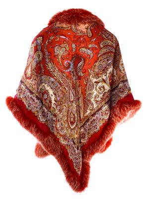 Платок павловопосадский с мехом песца
