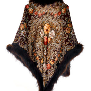Платок павловопосадский с мехом енота