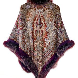 Платок павловопосадский с мехом лисы