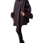 Меховое пальто с воротником (Пончо с мехом)