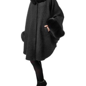 Пальто с мехом песца (Пончо с мехом)