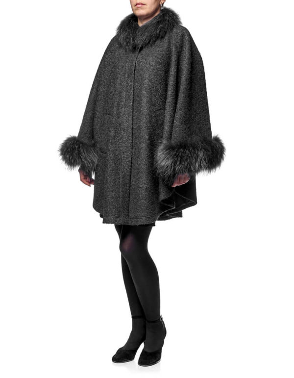 Пальто с мехом енота (Пончо с мехом)