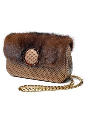 Кожаная сумка с мехом норки
