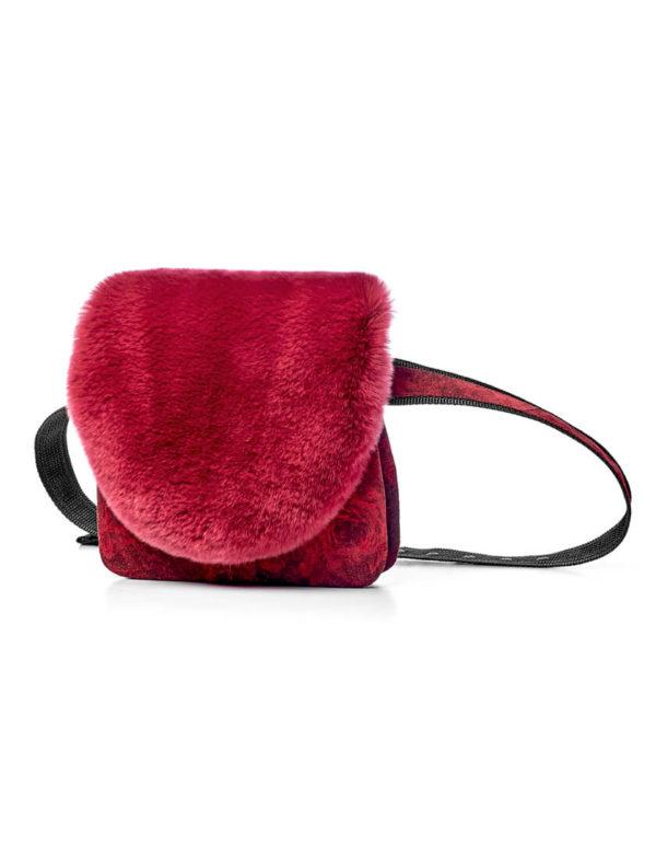 Поясная сумка с мехом кролика