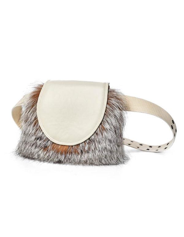 Поясная кожаная сумка с мехом лисы