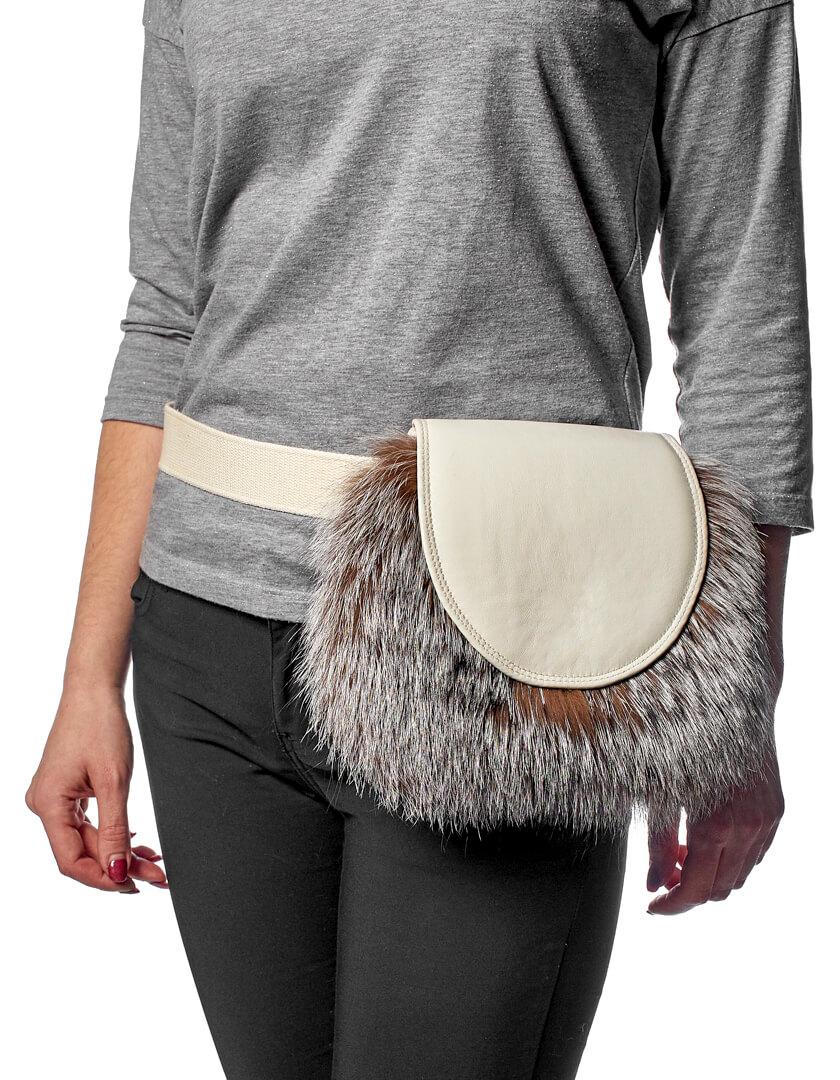 6715770868d6 Поясная кожаная сумка с мехом лисы - Kaminsky Store