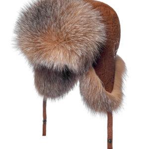 Женская меховая шапка ушанка из лисы