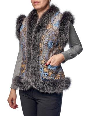 Павловопосадский жилет с мехом лисы