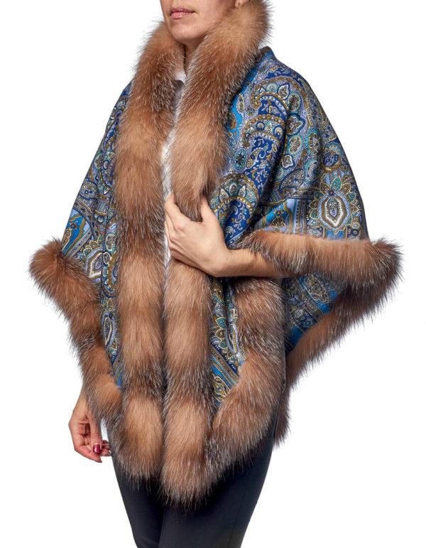 Павловопосадский платок с мехом лисы