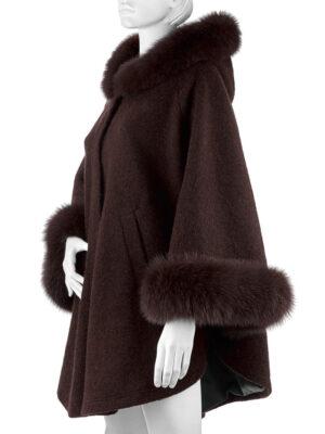 Пальто с капюшоном (Пончо с мехом)
