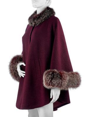 Пальто с мехом лисы (Пончо с мехом)