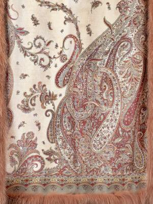 Павловопосадский шерстяной палантин с мехом песца